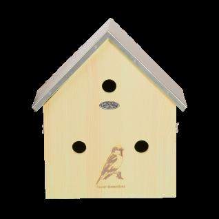 Nistkasten Vogelhaus Holz Winter Spatz Sperling Spatzenvilla Kiefer Zink Dach