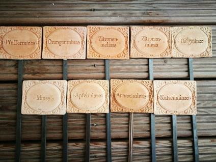 9x Kräuterschilder Terracotta Minze Pfefferminze Apfelminze Bergminze frostfest
