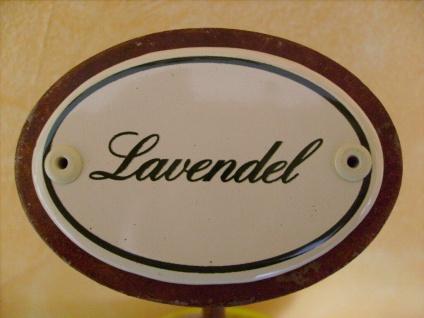 Kräuterschild Kräuterstecker Pflanzschild Emaille Emailschild Lavendel 25cm