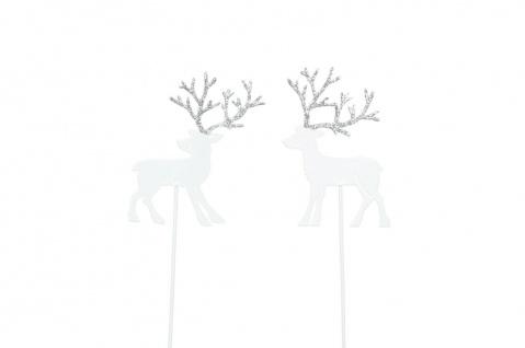 HIRSCH Stecker Beet Balkon Garten Metall weiss silber Dekoration Weihnachten