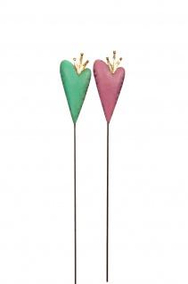 2x Stecker HERZ mit Krone zauberhafte Dekoration Weihnachten Metall pink mint