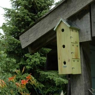 Nistkasten Vogelhaus Holz Spatz Sperling Spatzenvilla vertikal Winter Quartier - Vorschau 4