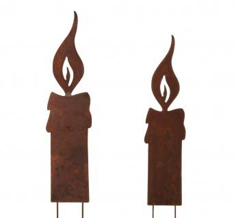 Flamme Kerze XXL 64cm zum Stecken Metall Rost Dekoration Weihnachten Garten 2x