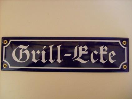 """Gartendekoration Schild Emaille Mini-Straßenschild """" Grill-Ecke"""