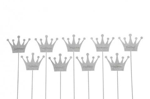9x Kräuterschilder Kräuterstecker Pflanzschild Metall Zink KRONE Thymian Salbei