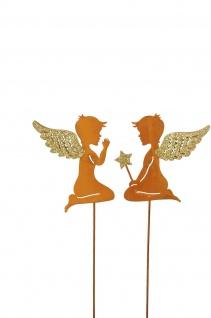 2x zauberhafte Engel zum Stecken Metall rost gold Dekoration Weihnachten