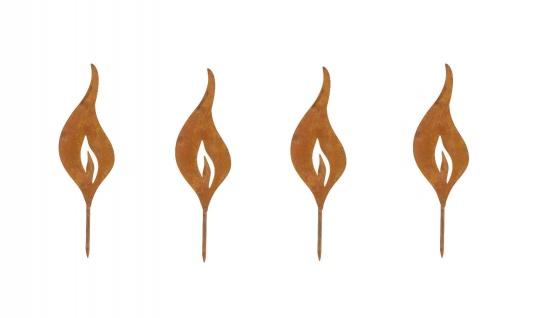 4x Flamme Kerze S 18, 5cm zum Stecken Metall Rost Dekoration Weihnachten Garten