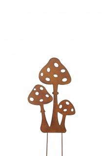 Pilzgruppe zum Stecken Metall rost Dekoration Garten Herbst Winter Balkon