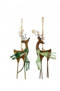 2x stilvoller Hänger HIRSCH mit Schal Fenster Balkon Garten Metall Weihnachten