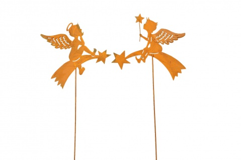 2x zauberhafte Engel zum Stecken Metall rost Dekoration Weihnachten