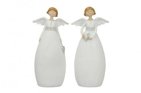 2 süße Engel in Weiss und Silber 23, 5cm Dekoration Weihnachten Winter