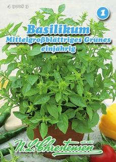 Basilikum Mittelgroßblättriges Grünes einjährig N. L. Chrestensen Samen Saatgut
