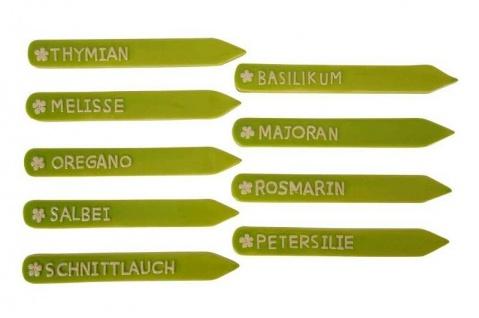 9x Kräuterschilder Kräuterstecker Pflanzschild Steinzeug Salbei Melisse Oregano