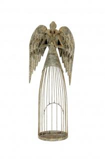 Engel Metall Flügel Tröte 53cm shabby Dekoration Weihnachten Winter aged used