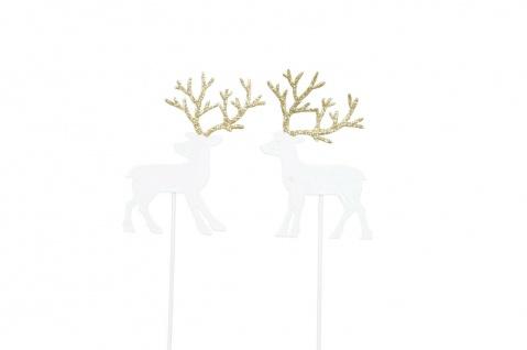 HIRSCH Stecker Beet Balkon Garten Metall weiss gold Dekoration Weihnachten