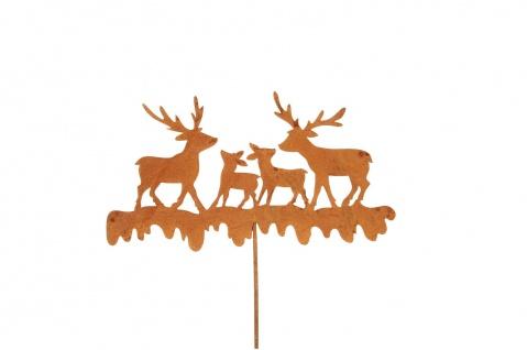 HIRSCH Familie Stecker Beet Balkon Garten Metall ROST Dekoration Weihnachten