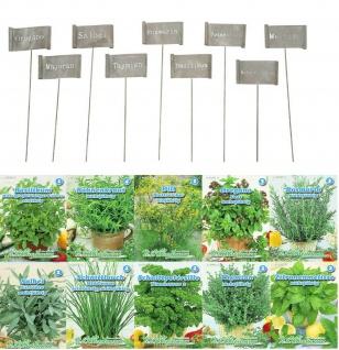 9er Set Kräuterschilder Metall grau gewellt + 10er Set Kräuter Saatgut Samen