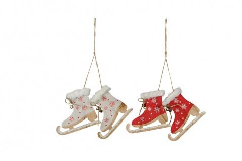 Schlittschuhe zum Hängen rot weiss Schneeflocke Dekoration Weihnachten