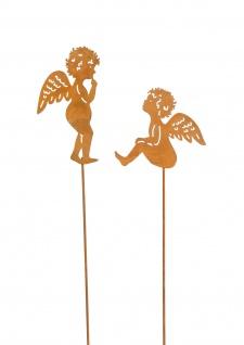 2x zauberhafte Engel am Stab zum Stecken Metall Rost Dekoration Weihnachten