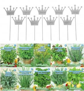 9er Set Kräuterschilder Metall Krone Zink groß + 10er Set Kräuter Saatgut Samen