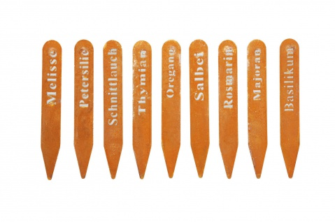 9x Kräuterschilder Kräuterstecker Pflanzschild Etikett Metall rost Basilikum