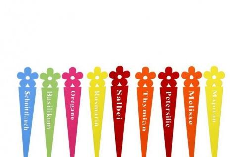 9x Kräuterschilder Kräuterstecker Etikett Metall farbig Thymian Salbei Melisse