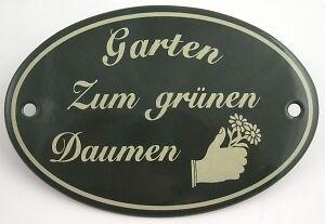 Gartendekoration Schild Emaille Garten zum grünen Daumen zum Hängen