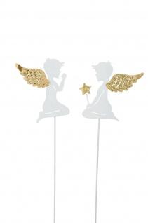 Engel Stecker Stab Metall weiss gold Dekoration Weihnachten Advent Balkon