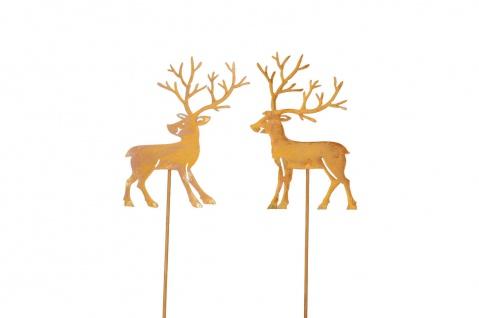 2x Stecker HIRSCH Beet Balkon Garten Metall rost Dekoration Weihnachten