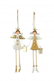 2x zauberhafte Engel zum Hängen weiss gold Dekoration Weihnachten