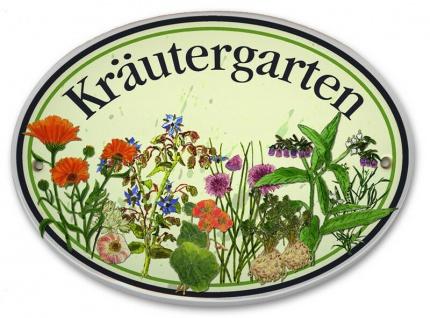 Garten Dekoration Schild KRÄUTERGARTEN Porzellan zum Anschrauben frostsicher