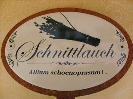 Kräuterschild Kräuterstecker Pflanzschild Emaille Metall Rost Schnittlauch 30cm