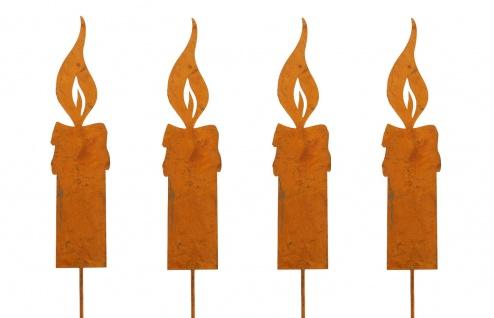 4x Flamme Kerze S 14cm zum Stecken Metall Rost Dekoration Weihnachten Garten