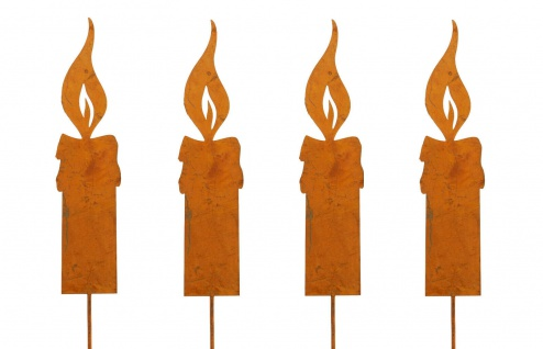 Flamme Kerze S 14cm zum Stecken Metall Rost Dekoration Weihnachten Garten 4x
