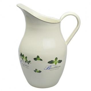Wasserkanne Krug Vase aus Emaille Dekor KRÄUTERTRAUM