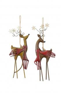 HIRSCH mit Schal zum Hängen Fenster Balkon Garten Metall Weihnachten Winter
