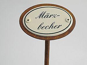 Pflanzschild Blumenstecker Etikett Emailleschild MÄRZBECHER 25cm