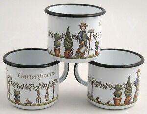 Pott Becher Kaffee Tee aus Emaille Gartenfreund 0, 4 Liter