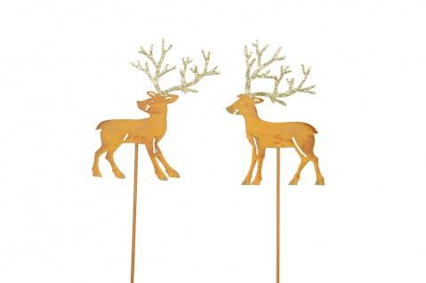 HIRSCH Stecker Stab Beet Balkon Garten Metall rost Dekoration Weihnachten Winter