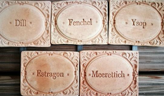 5x Kräuterschilder Terracotta Dill Ysop Estragon Fenchel Meerettich frostfest