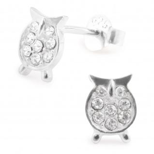 Eulen Ohrringe aus 925 Silber mit Kristallen