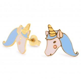Blaue Einhorn Ohrringe vergoldet