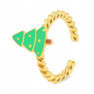 Weihnachtsbaum Ring vergoldet