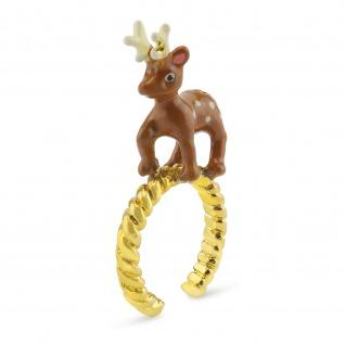 Hirsch Ring vergoldet