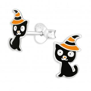 Katzen Halloween Kinder Ohrringe aus 925 Silber