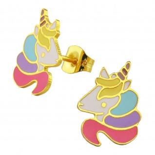 Einhorn-Kopf Ohrringe vergoldet