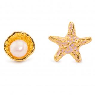 Muschel und Seestern Ohrringe vergoldet