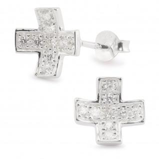 Kreuz Ohrringe aus 925 Silber