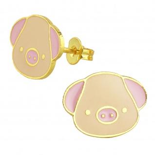 Schweine Ohrringe vergoldet