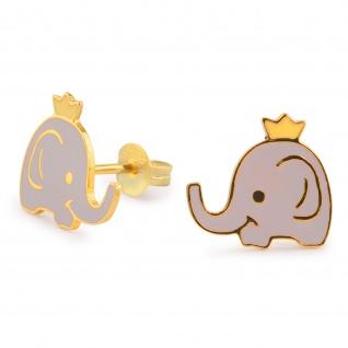 Elefanten mit Krone Ohrringe vergoldet